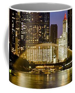 Centennial Fountain Over Chicago River At Dusk Coffee Mug