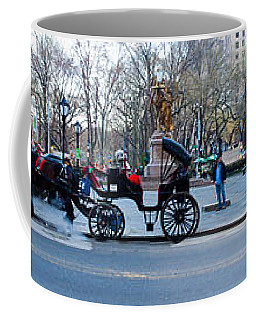Central Park Horse Carriage Station Panorama Coffee Mug