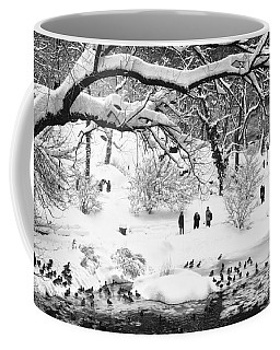 Coffee Mug featuring the photograph Central Park Lake Blizzard by Dave Beckerman