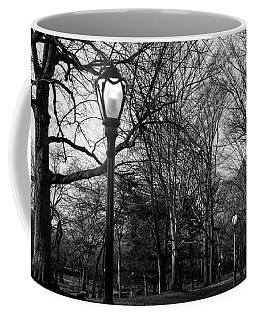 Central Park Streetlamps In Black And White 2 Coffee Mug
