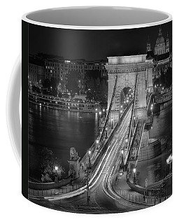 Chain Bridge Night Traffic Bw Coffee Mug