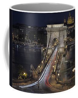 Chain Bridge Night Traffic Coffee Mug