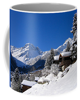 Chalets In A Snow White Valley Coffee Mug