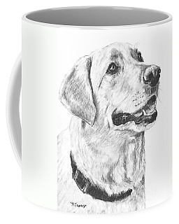 Charcoal Drawing Yellow Lab In Profile Coffee Mug by Kate Sumners