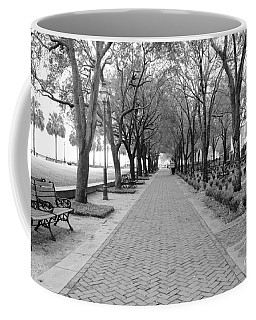 Charleston Waterfront Park Walkway - Black And White Coffee Mug