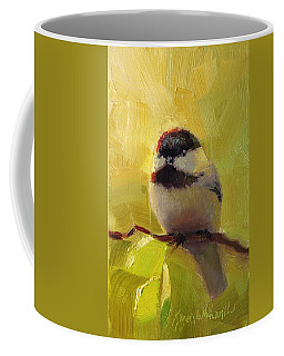 Chatty Chickadee - Cheeky Bird Coffee Mug by Karen Whitworth