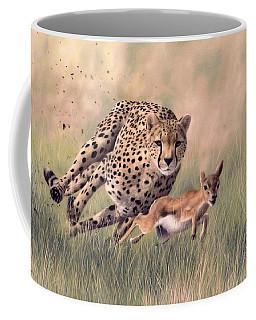 Cheetah And Gazelle Painting Coffee Mug by Rachel Stribbling