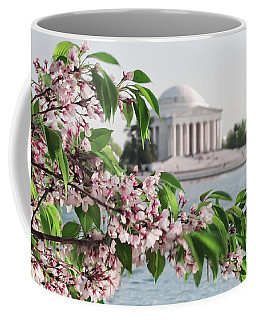 Coffee Mug featuring the photograph Cherry Blossoms And The Jefferson Memorial 2 by Mitchell R Grosky