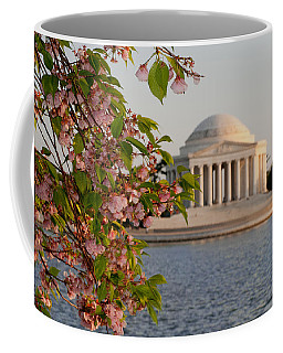 Coffee Mug featuring the photograph Cherry Blossoms And The Jefferson Memorial 3 by Mitchell R Grosky