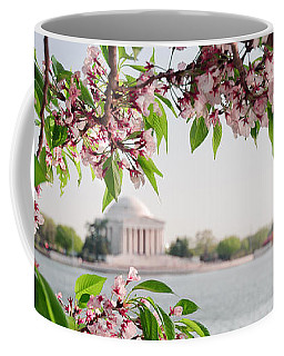 Coffee Mug featuring the photograph Cherry Blossoms And The Jefferson Memorial Panorama by Mitchell R Grosky
