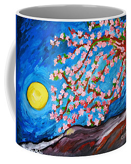 Coffee Mug featuring the painting Cherry Tree In Blossom  by Ramona Matei