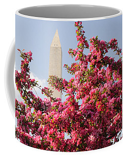 Coffee Mug featuring the photograph Cherry Trees And Washington Monument 5 by Mitchell R Grosky