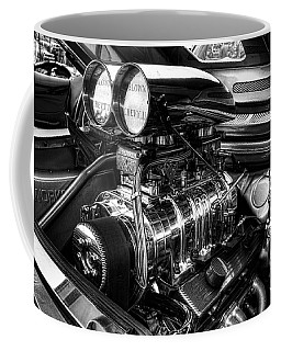 Chevy Supercharger Motor Black And White Coffee Mug