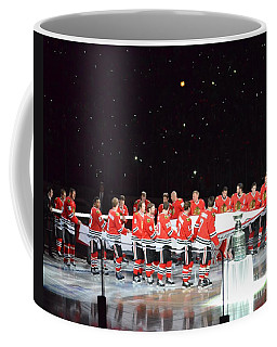 Chicago Blackhawks And The Banner Coffee Mug by Melissa Goodrich