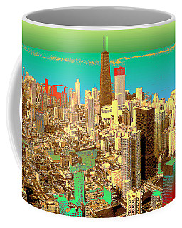 Chicago Pop Art In Blue Green Red Yellow Coffee Mug