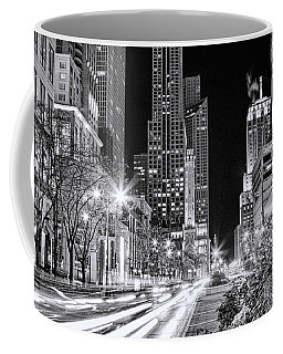 Chicago Michigan Avenue Light Streak Black And White Coffee Mug