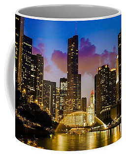 Chicago River Dusk Scene Coffee Mug