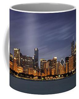 Chicago Skyline At Night Color Panoramic Coffee Mug by Adam Romanowicz