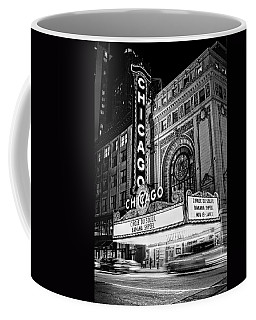 Chicago Theatre Marquee Sign At Night Black And White Coffee Mug