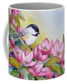 Chickadee And Crabapple Flowers Coffee Mug