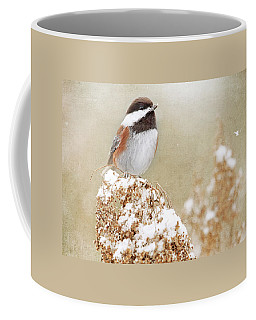 Chickadee And Falling Snow Coffee Mug