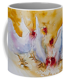 Coffee Mug featuring the painting Chickens Feed by Jani Freimann
