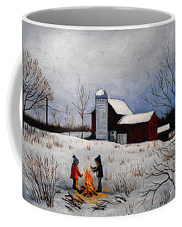 Children Warming Up By The Fire Coffee Mug