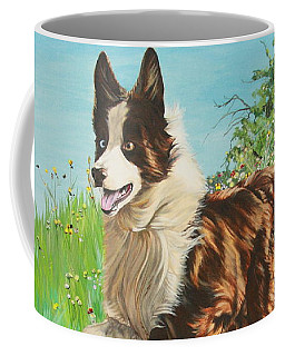 Chocolate Border Collie In Meadow Coffee Mug
