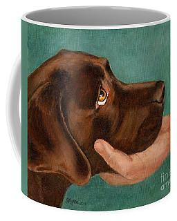 Chocolate Lab Head In Hand Coffee Mug