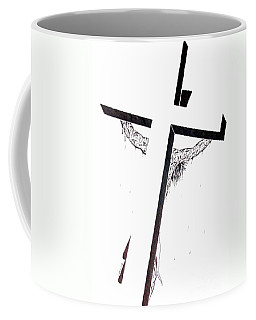 Coffee Mug featuring the drawing Christ On Cross by Justin Moore