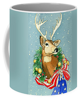 Coffee Mug featuring the painting Christmas Buck by Katherine Miller