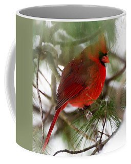 Coffee Mug featuring the photograph Christmas Cardinal by Kerri Farley