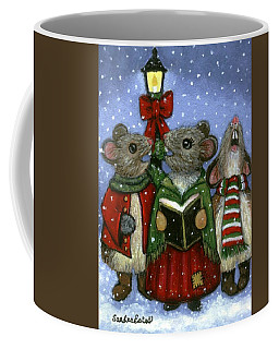Coffee Mug featuring the painting Christmas Caroler Mice by Sandra Estes