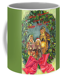 Coffee Mug featuring the painting Christmas Carolers Merry Christmas And Happy New Years by Carol Wisniewski