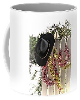 Christmas Cowboy Hat On A Fence Coffee Mug