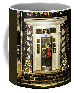 Coffee Mug featuring the photograph Christmas Door 2 by Betty Denise