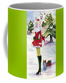 Coffee Mug featuring the painting Christmas Fantasy  by Nadine Dennis