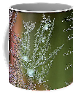 Coffee Mug featuring the mixed media Christmas Greeting Card Ice Flowers by Peter v Quenter