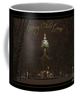 Christmas Greeting Card Notre Dame Golden Dome In Night Sky And Snow Coffee Mug by John Stephens