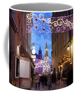 Christmas Illumination On Piwna Street In Warsaw Coffee Mug