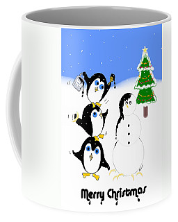 Coffee Mug featuring the digital art Christmas Penguins by Stephanie Grant