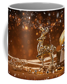 Christmas Reindeer In Gold Coffee Mug