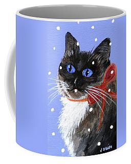 Coffee Mug featuring the painting Christmas Siamese by Jamie Frier
