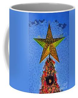 Coffee Mug featuring the painting Christmas Tree By Dusk Time by George Atsametakis