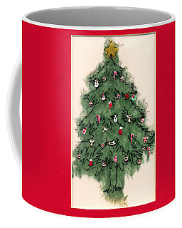 Christmas Tree With Red Mat Coffee Mug