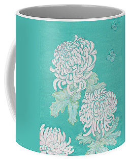 Coffee Mug featuring the painting Chrysanthemums And Butterflies by Stephanie Grant