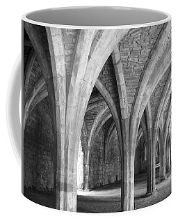 Coffee Mug featuring the photograph Church Archways In Black And White by Susan Leonard