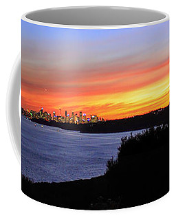 Coffee Mug featuring the photograph City Lights In The Sunset by Miroslava Jurcik