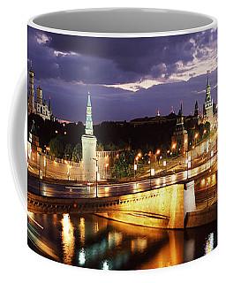City Lit Up At Night, Red Square Coffee Mug