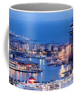 City Of Barcelona From Above At Night Coffee Mug